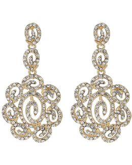 Long Filgree Crystal Oval Drop Earring