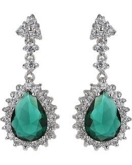 Oval Cubic Edged Crystal Drop Earring