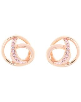 Rose Gold & Crystal Ribbon Stud Earring