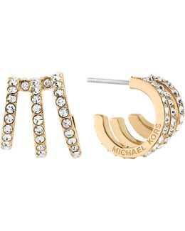 Triple-row Pavé Huggie Hoop Earrings