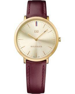 Th692 Ladies Burgundy Leather Watch