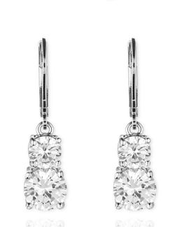 Leverback Double Stone Drop Earrings