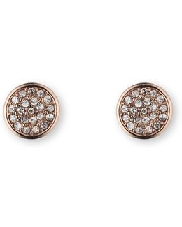 Button Stud Pave Earrings