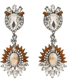 Oval Crystals Attach Crystals Earring