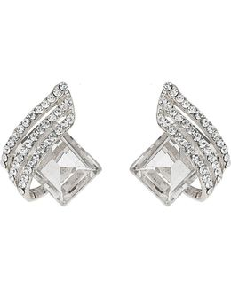 Squre Stone Curved Studded Stud Earring