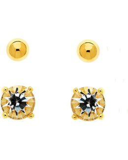 Gold Crystal & Ball Stud Earrings