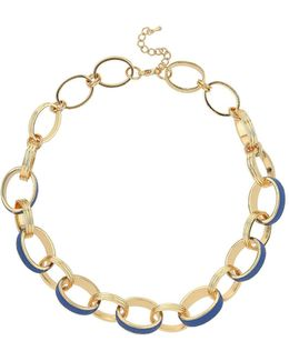 Leather Metal Rings Necklace