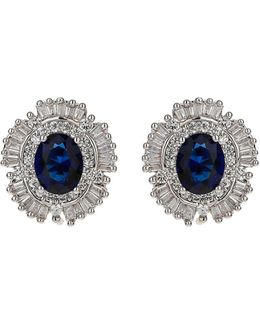 Cubic Oval Centre Stud Earring