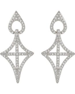 Gothic Cross Oval Cubic Drop Earring