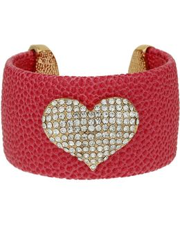 Heart On Leather Cuff
