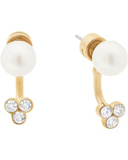 Classic Modern Faux-pearl Front/back Earrings