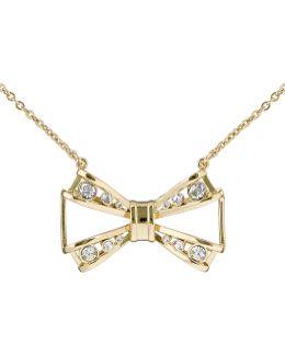 Jiao Gold Jewelled Bow Pendant