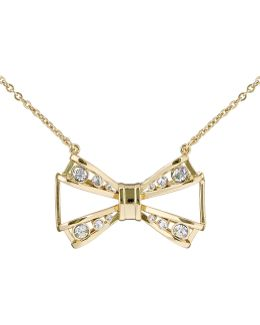 Jiao Gold Jewelled Bow Pendant
