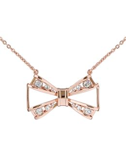Jiao Rose Gold Jewelled Bow Pendant