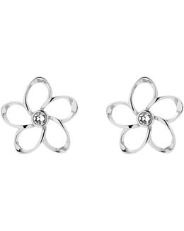 Basilio Silver Crystal Blossom Earrings