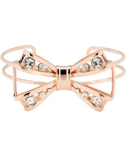 Josz Rose Gold Jewelled Bow Cuff