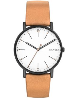 Men's Signature Tan Leather Strap Watch 40mm Skw6352