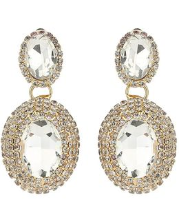 Twin Oval Stone Marquise Drop Clip On Ea