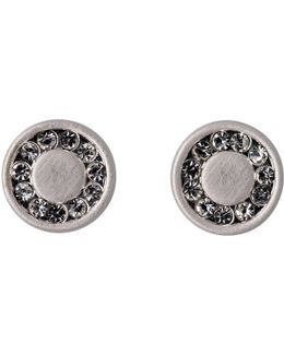 Silver Plated Ear Studs With Crystals