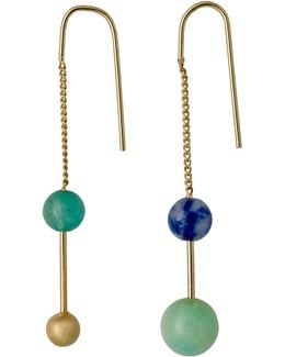 Gold Plated Chain Earrings With Stones
