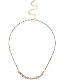 Crytsal Petal Chain Linked Necklace