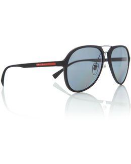 Black Rubber Ps 05rs Pilot Sunglasses