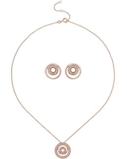 Cubic Twin Ring Embed Top Necklace Set