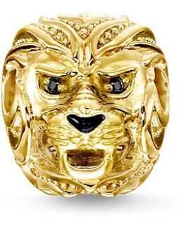 Yellow Gold Lion`s Head Karma Bead