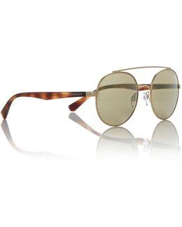Matte Pale Gold Ea2051 Round Sunglasses