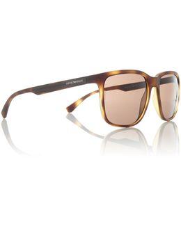 Havana Rubber Ea4104 Square Sunglasses