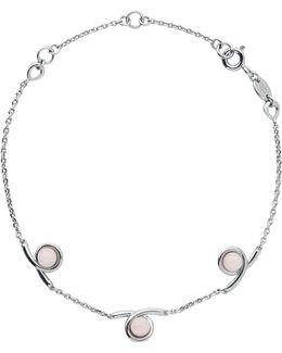 Serpentine Silver & Pink Opal Bracelet