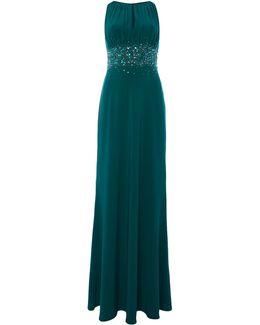 Jewel Waist Keyhole Maxi Dress
