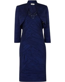 Crushed Taff Dress With Jacket