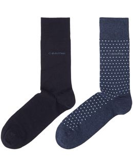 2 Pack Spot And Plain Flat Knit Socks