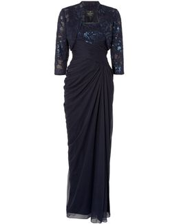 Floor Length Gown With Sequin Bodice And Jacket