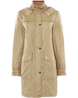 Hooded Parka Coat With Drawstring Waist