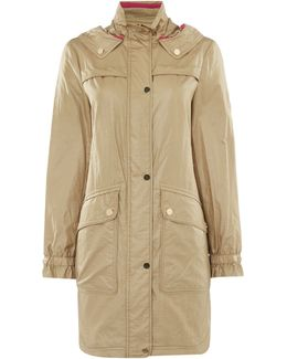 Hooded Parka Coat With Drawstring Waist
