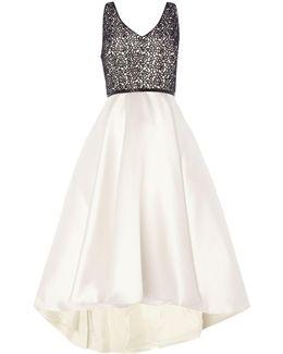 Lace Bodice V Neck Dress