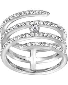 Silver-tone Crystal Swan Logo Ring