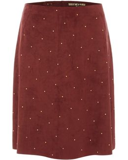 Suedette Studded A Line Skirt