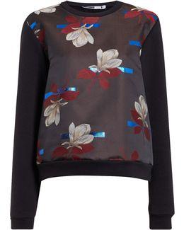 Brianza Long Sleeve Jaquard Floral Sweatshirt
