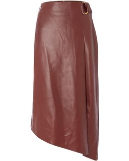 Faux Leather Assymetric D Ring Skirt