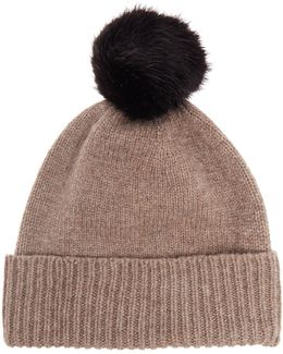 Knitted Lambswool Faux Fur Pom Pom Hat