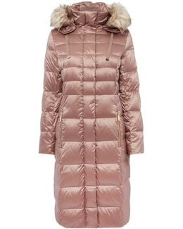 Padded Down Coat With Faux Fur Hood