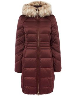 Satin Down Coat With Faux Fur Hood