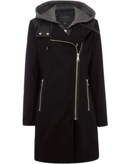 Wool Coat With Faux Leather Trim