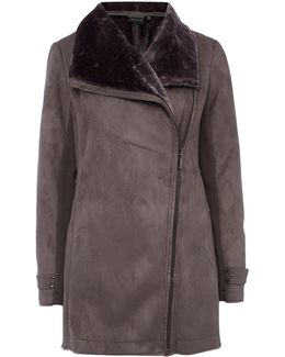 Faux Shearling Asymmetrical Walker Jacket