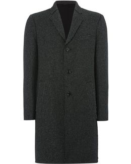 Long Line Donegal Knitted Wool Coat