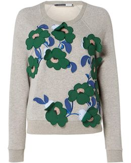 Knitted Sweatshirt With Embellished Flowers