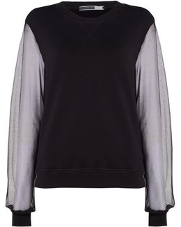 Knitted Sweatshirt With Sheer Sleeves